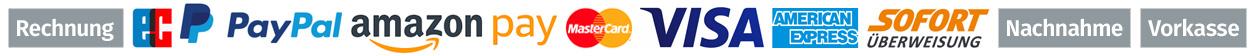 wir liefern auf Rechnung, Lastschrift, PayPal, Amazon Pay, Mastercard, Visa, American Express, Sofortüberweisung, per Nachnahme und per Vorkasse
