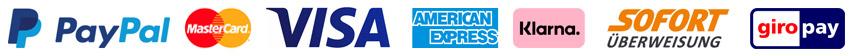wir liefern auf PayPal, Mastercard, Visa, American Express, Sofortüberweisung, Klarna und GiroPay