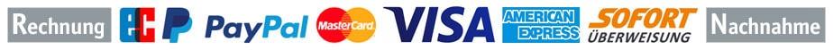 wir liefern auf Rechnung, per Nachnahme, Lastschrift, Mastercard, Visa, American Express, PayPal und Sofortüberweisung